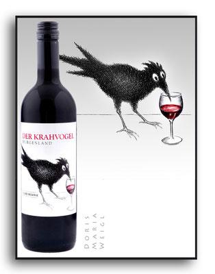 Krahvogel Wein mit Glas - Tusche - Illustrationen Doris Maria Weigl / Menü