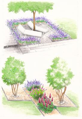 Gartenszene 9 Burda - Aquarell - Illustrationen Doris Maria Weigl / Landschaft