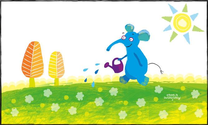 blauer Elefant im Frühling - Vektorgrafik - Illustrationen Doris Maria Weigl / Kinderbuch