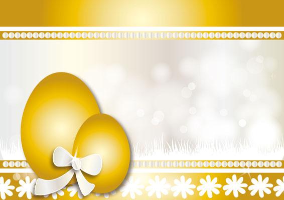 goldenes Osterei mit Masche - Vektorgrafik - Illustrationen Doris Maria Weigl / Festtage