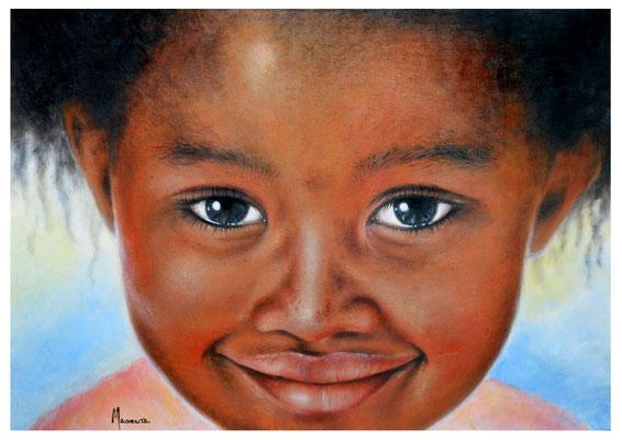 Bahati - Acryl auf Leinen, 70 50 cm - Illustrationen Doris Maria Weigl / Portrait (verkäuflich)