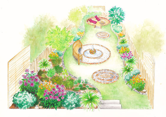 Gartenszene 3 Burda - Aquarell - Illustrationen Doris Maria Weigl / Landschaft