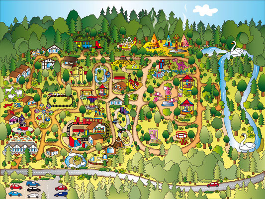 Freizeitpark - Vektorgrafik - Illustrationen Doris Maria Weigl / Landschaft