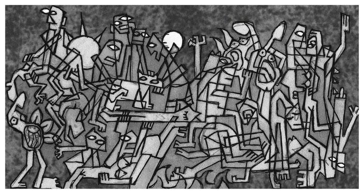"""""""Allegorie des Lebens/Todes"""" - Tusche auf Karton - 20x11cm - Doris Maria Weigl / Art"""