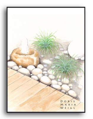 Gartendetail Burda - Aquarell - Illustrationen Doris Maria Weigl / Landschaft