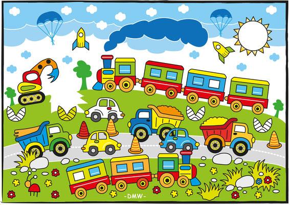Kinderrätsel Eisenbahn - Vektorgrafik - Illustrationen Doris Maria Weigl / Kinderbuch