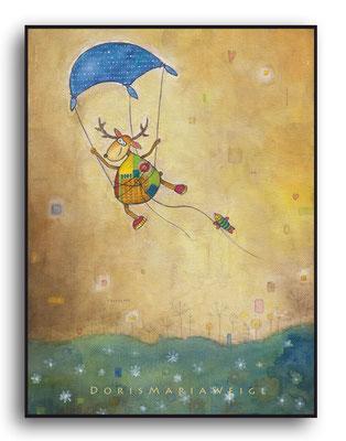 Leonhard fliegt - Aquarell - Illustrationen Doris Maria Weigl / Kinderbuch