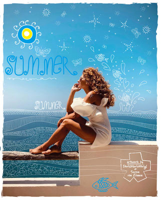"Foto mit Vektorgrafik ""Summer"" - Illustrationen Doris Maria Weigl mit Seren van Zinnen / Mode"