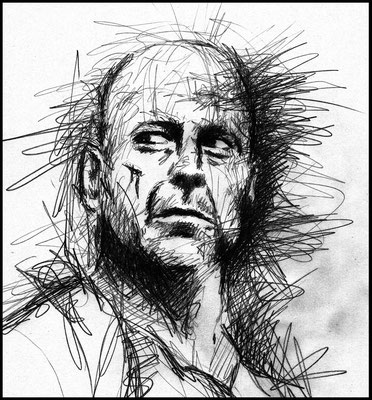 Bruce Willis - Kohle - Illustrationen Doris Maria Weigl / Portrait