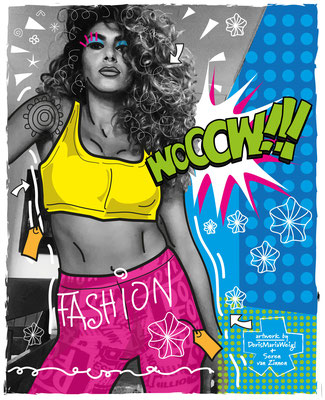 "Foto mit Vektorgrafik ""Fashion"" - Illustrationen Doris Maria Weigl mit Seren van Zinnen / Mixed Media"