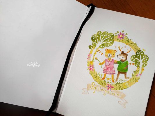 Springtime - Aquarell - Illustrationen Doris Maria Weigl / Kinderbuch