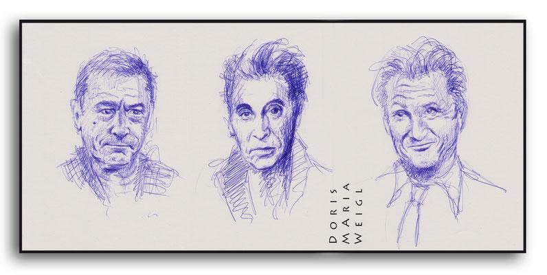 Schauspieler - blauer Kugelschreiber - Illustrationen Doris Maria Weigl / Portrait