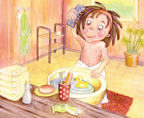 im Badezimmer - Aquarell - Illustrationen Doris Maria Weigl / Kinderbuch