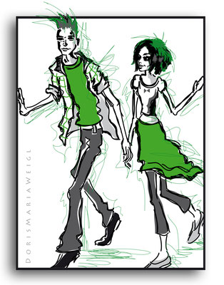 grüne Jugend - Vektorgrafik - Illustrationen Doris Maria Weigl / Menschen
