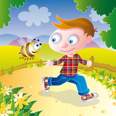 Junge läuft mit Biene - Vektorgrafik - Illustrationen Doris Maria Weigl / Kinderbuch