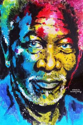 Acryl auf Leinen - Morgan Freeman - Doris Maria Weigl - Illustrationen