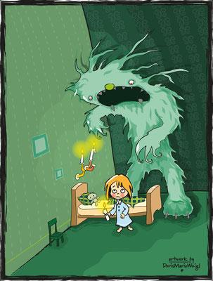 Lilli und das grüne Monster - Vektorgrafik - Illustrationen Doris Maria Weigl / Kinderbuch