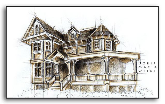 Villa gezeichnet mit Grafit und Sepia - Illustrationen Doris Maria Weigl / Architektur