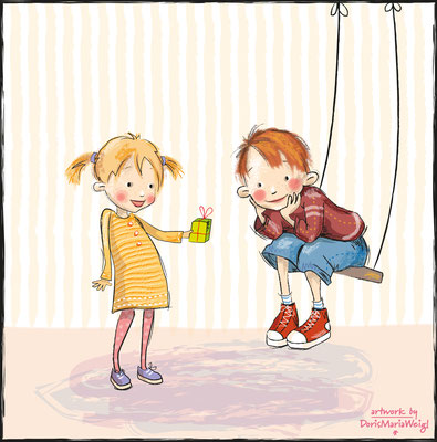 Das Geschenk - Vektorgrafik - Illustrationen Doris Maria Weigl / Kinderbuch