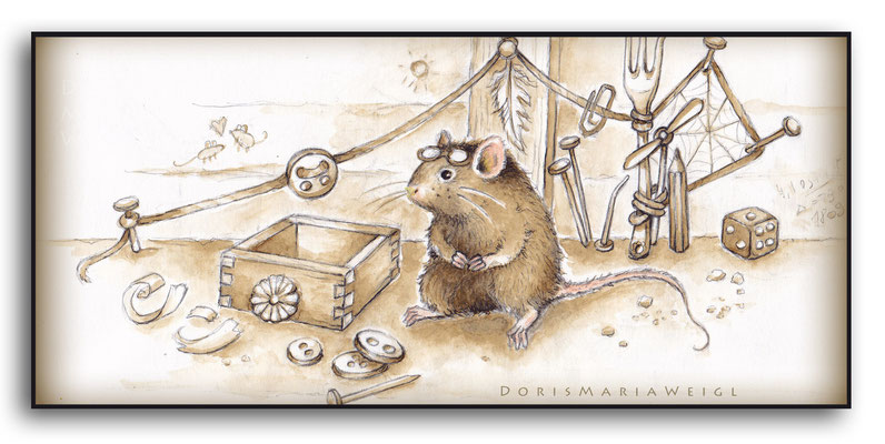 Maus in Sepia - Aquarell - Illustrationen Doris Maria Weigl / Kinderbuch