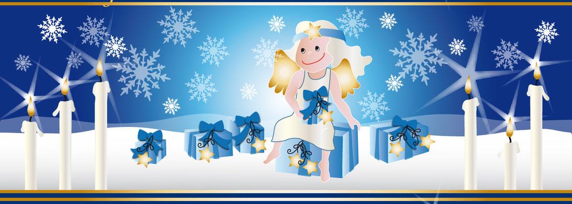 Weihnachten mit Engel - Vektorgrafik - Illustrationen Doris Maria Weigl / Festtage