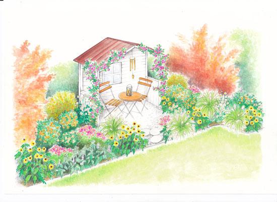 Gartenszene 7 Burda - Aquarell - Illustrationen Doris Maria Weigl / Landschaft