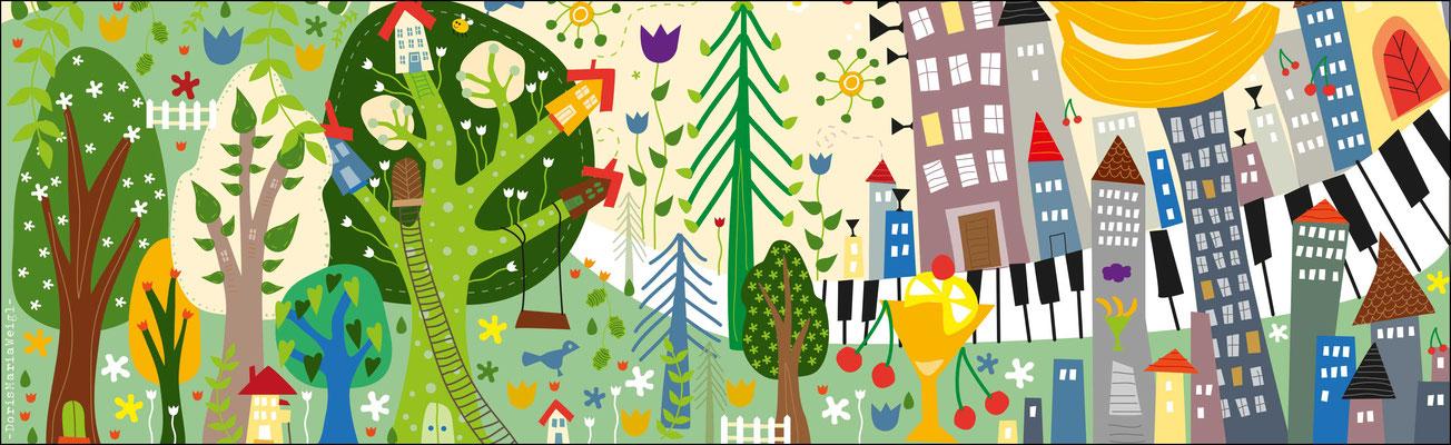 Landschaft 2D - Vektorgrafik - Illustrationen Doris Maria Weigl / Kinderbuch