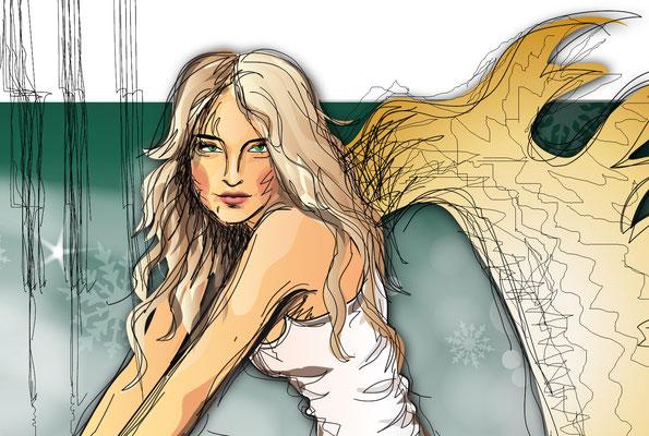 Der Engel - Vektorgrafik - Illustrationen Doris Maria Weigl / Festtage