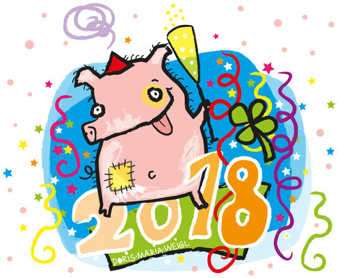 Silvester 2018 - Vektorgrafik- Illustrationen Doris Maria Weigl / Comic