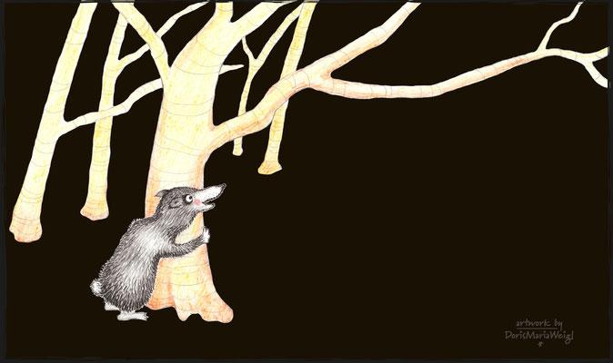 im dunklen Wald - Aquarell - Illustrationen Doris Maria Weigl / Kinderbuch