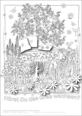 Garten - Malbild - Vektorgrafik - Doris Maria Weigl