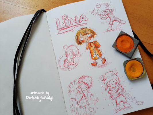 Lina - Aquarell und Frabstift - Illustrationen Doris Maria Weigl / Kinderbuch