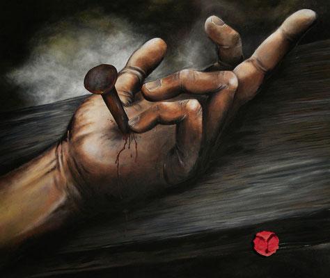 """""""Died for you"""" - eine Anklage - Acryl, Holzspäne und Blut auf leinen - 120x100cm - Doris Maria Weigl"""