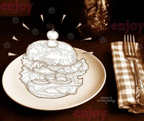 "Foto mit Vektorgrafik ""Burger"" - Illustrationen Doris Maria Weigl  / Mixed Media"