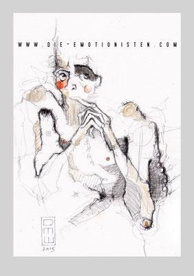 """""""warum"""" - Serie Mute - Graphit, Gold und Aquarell auf Zeichenpapier, 20x30cm - Doris Maria Weigl"""