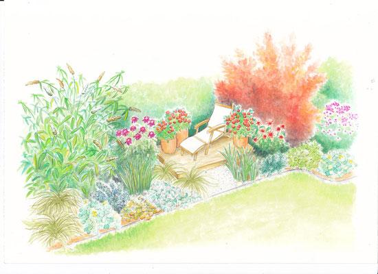 Gartenszene 5 Burda - Aquarell - Illustrationen Doris Maria Weigl / Landschaft