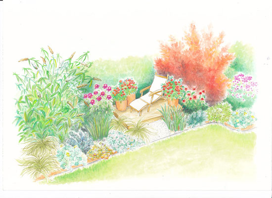 Gartenszene 5 Burda - Aquarell - Illustrationen Doris Maria Weigl / Landschaft