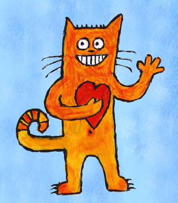 Illustrationen Doris Maria Weigl / Katze orange mit Herz