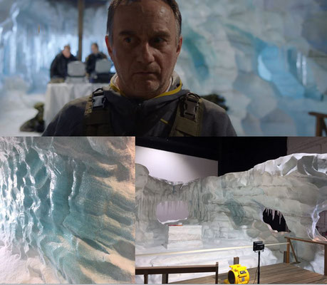 """Gletscherhöhle, Teamarbeit bei Spreekulissen, für """"Capelli Code"""", European Star Cinema, 2017 (Fotos: Gunnar Zimmer)"""