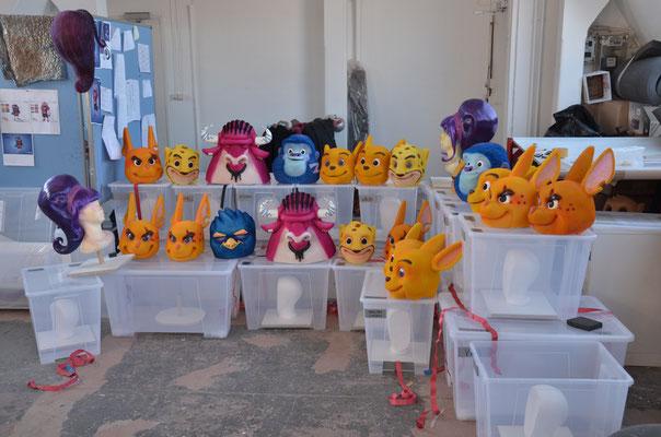 Herstellung von Masken für den Walibi Theme Park,  Teamarbeit: Chris Creatures Filmeffects int.
