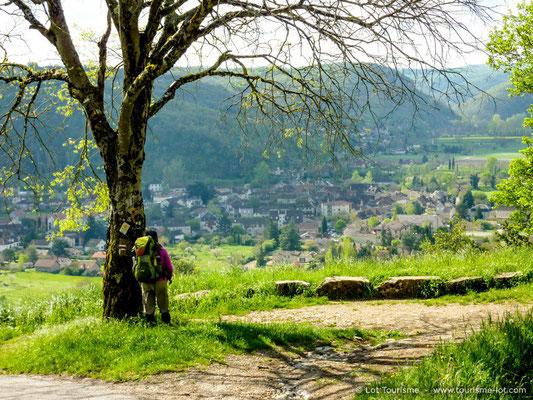 Hiker on the Saint-Jacques pilgrim way