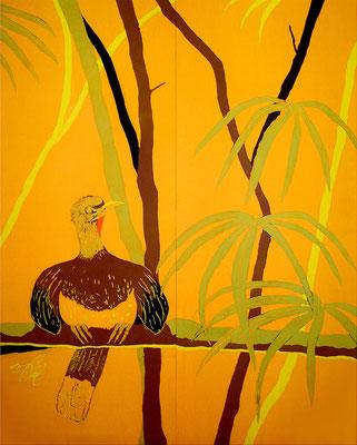 初期の作品「トリのメキシコ人-第2幕-」です。この頃はスケッチを元にして制作していました。日本画寄りです。