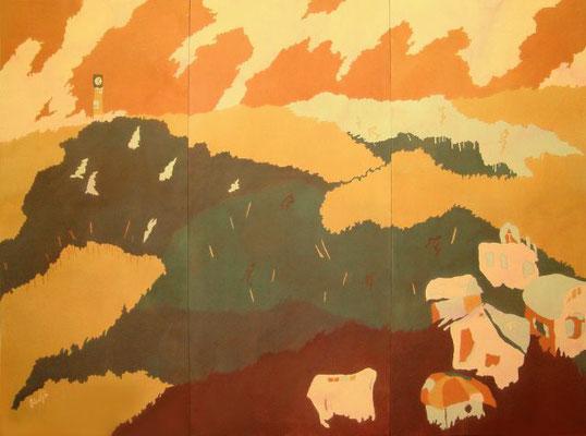2004年に制作した大作「新世界より」185×249cmです。京展にて工芸部門での最高賞である京展賞を頂きました。