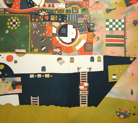 2011年制作「Free As A Bird」145×155cmです。日展入選作です。その年に公開された「コクリコ坂から」の影響を受けました。