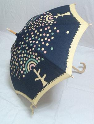 イベント用に日傘も染めてみました。平面作品よりシンプルな柄にしました。