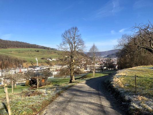 Aufstieg nach dem Dorf Bubendorf