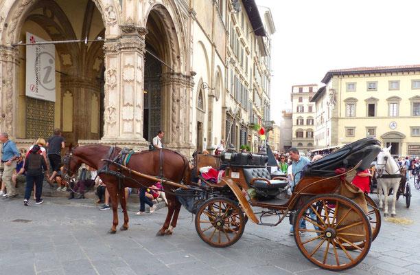 Pferdegespann vor der Loggia del Bigallo
