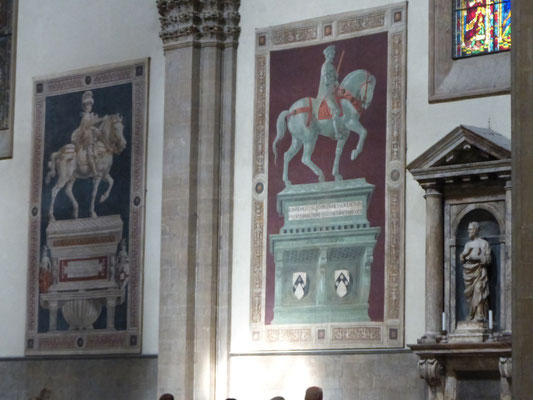 Links der Sieger von 1432 über die Truppen des Erzfeindes Siena, rechts Sir John Hawkwood, ein englischer Söldner, der florentinische Truppen am Ende des 14. Jh. kommandierte