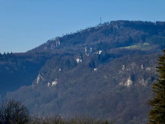 Blick zum Schloss Pfeffingen und Eggflue