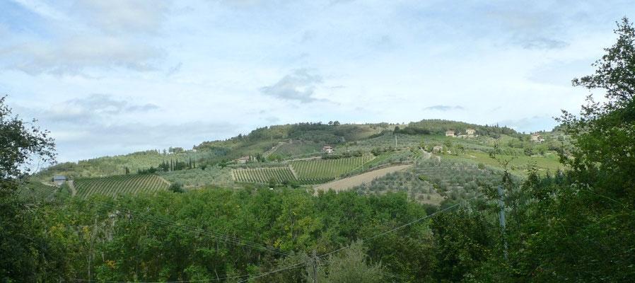 Blick vom Aufstieg nach Castagnoli nach Borgo Casa al Vento
